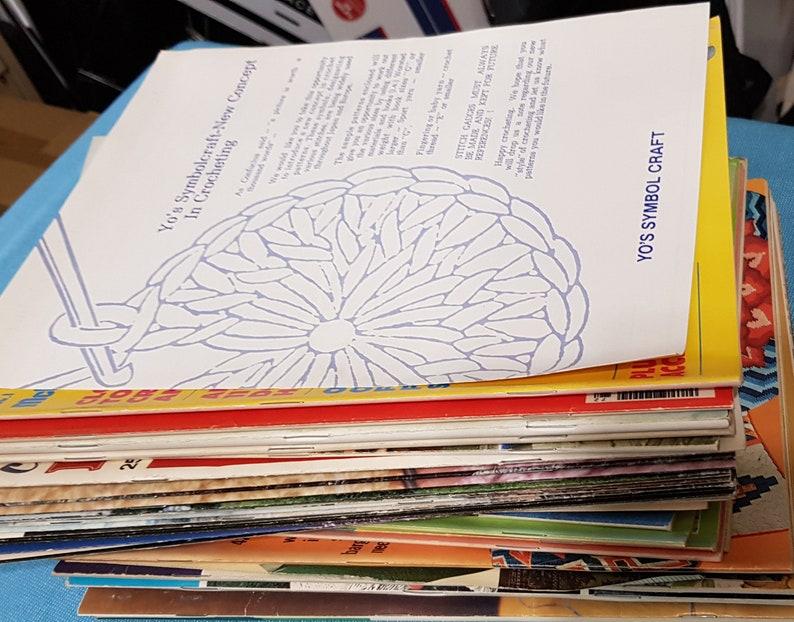 booklets and magazine items destash Needlepoint etc patterns HUGE LOT 45 plus Vintage 1970/'s Crochet