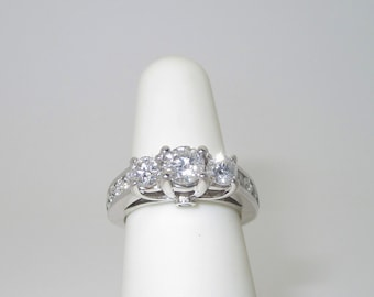 Diamond Engagement Ring Natural Three Stone 1.50 ctw 14k Solid White Gold Engagement Ring Size 4.5 R1368