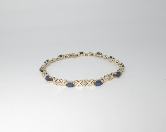 Sapphire Diamond Gold Bracelet Natural 14k Solid Tennis 2.78 ctw September Birthstone Size 7 B146