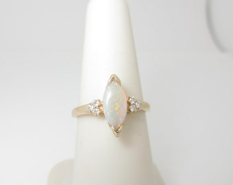 Antique Opal Diamond Ring Natural Marquise 2.0 ct 14k Solid Gold Size 6.25 R1497