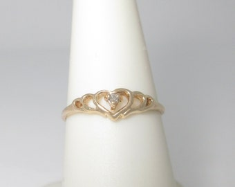 Natural Diamond Heart Ring Gold Love Promise 10K Solid Size 7 R1694