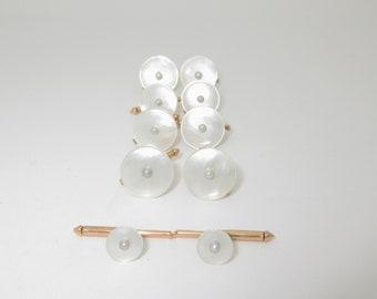 Mens Gold Tuxedo Studs Wedding Tuxedo Shirt Buttons Antique Pearl 14K Solid P021