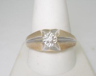 Unique Antique Men's 10K Brushed Solid Gold Natural Diamond Ring | Size 12