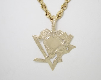 """14K Official NHL Stanley Cup Pittsburgh Penguins Pendant Necklace 