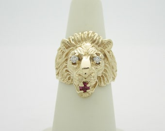 Men's 14K Solid Gold Hand Wrought Sapphire & Ruby Lion Of Judah Pinky Ring | Size 6  R910