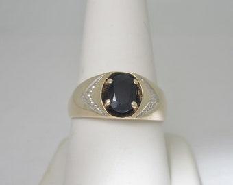 Men's 10K Solid Gold Retro .85ct Black Onyx Ring | Size 9.75  R713