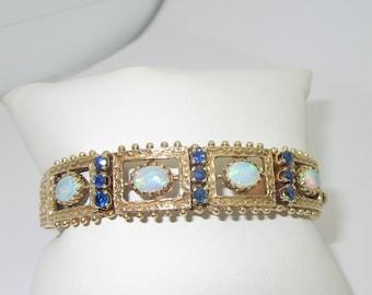 Opal Sapphire Bangle Gold Bracelet Antique Natural 4.72 ctw Size 7.5 B132