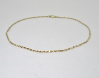 14K Solid Gold Ladies Rope Chain Anklet | Size 10.5 A0001