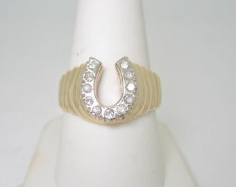 14K Solid Gold .38ctw Natural Diamond Horseshoe Custom Designer Ring | Size 9