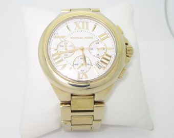 1002c9f31154 Michael Kors MK5635 Camille Womens Ladies Chronograph Gold White Quartz  Watch
