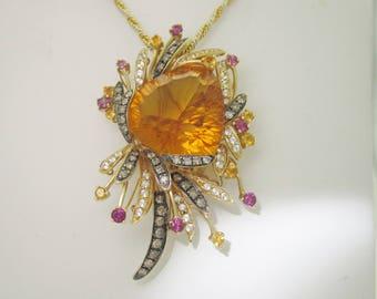 "LEVIAN 14K Solid Gold 22.50 ctw Trillian  Citrine & Diamond Necklace |18"" N282"