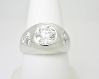 Men's Prestine 14K Solid White Gold 1.81ctw Natural Diamond Ring | Size 8.25
