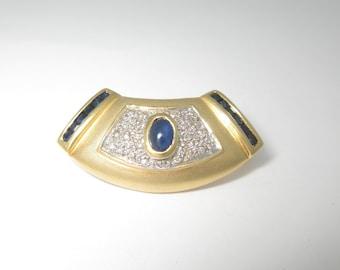 18K Natural Blue Sapphire Diamond Pendant Slide Solid Gold 1.58 ctw Omega PN087