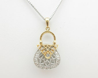 "White Gold Diamond Necklace Filigree Natural VS-DE .22 ctw Purse Pendant 14k Solid 19"" N398"
