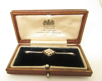 Antique 15K Platinum Pearl Safety Pin Brooch Edward Jewelry Glasgow June Birthstone P026