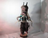 Indian Kachina Doll Native American Hand Wrought Antelope Removable Headdress Signed