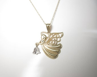"""Diamond Angel Necklace Solid Gold Natural Guardian Angel Pendant 10k 18"""" N399"""