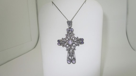 10k White Gold Cross Band Abstract Crucifix Ring 8.25