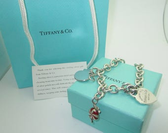 Tiffany & Co Charm Bracelet With Duck Candy and Return to Tiffany Charms  8 Inch