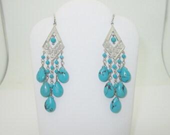 Sterling Silver Dangling Turquoise Pierced Earrings SE014