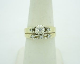 Antique 14K Solid Gold Natural Diamond Wedding Set | Size 6.5  R422