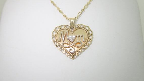 "Diamond Heart Love Mom Pendant Necklace 18/"" 10K Gold"
