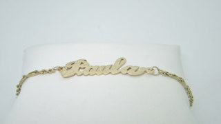 Perfect for Paula, 14K Solid Gold, Ladies Name Anklet, Gold Paula Anklet | Size 10.25 A0004