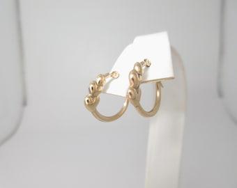 Solid Gold Hoop Earrings Three Heart Pierced 14k Hinged E264