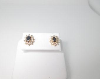Vintage Gold Sapphire Earrings Pierced 1.0 ctw 10k Solid September Birthstone E263