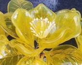 Vintage Lucite Flower Arrangement, Made in Italy by Crystalin in 1966, Large Chartreuse Yellow Magnolia, Flower Power, Wedding Bouquet