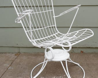 Homecrest, Eames Era, Metal, Wire, Chair, White, High Back Chair, Vintage, Mid  Century Modern,, Swivel Chair, Lounge Chair