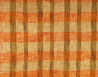 caf75b76556 Vintage 70's Orange Multicolored Plaid Upholstery Fabric, Home Decor Fabric,  Retro 1970's Woven Fabric, Cotton Blend, Olive Green, Gingham