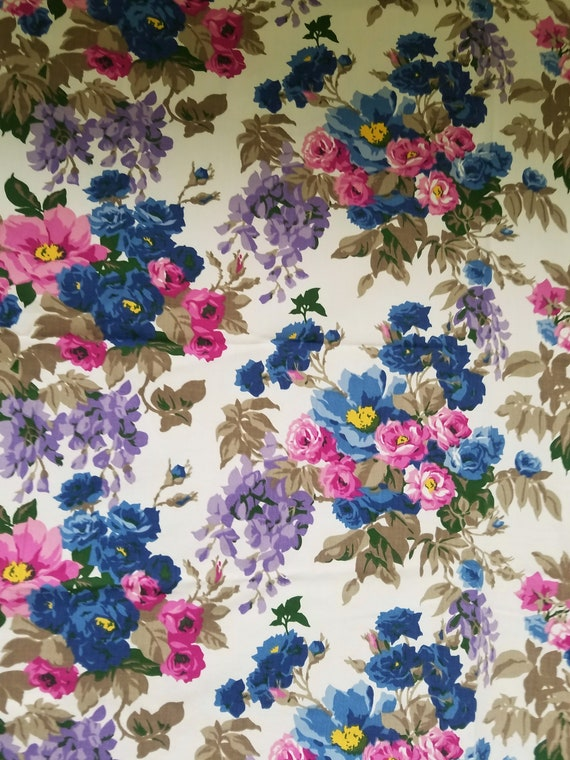Vintage Floral Fabric Remnant Rose Pink Yellow
