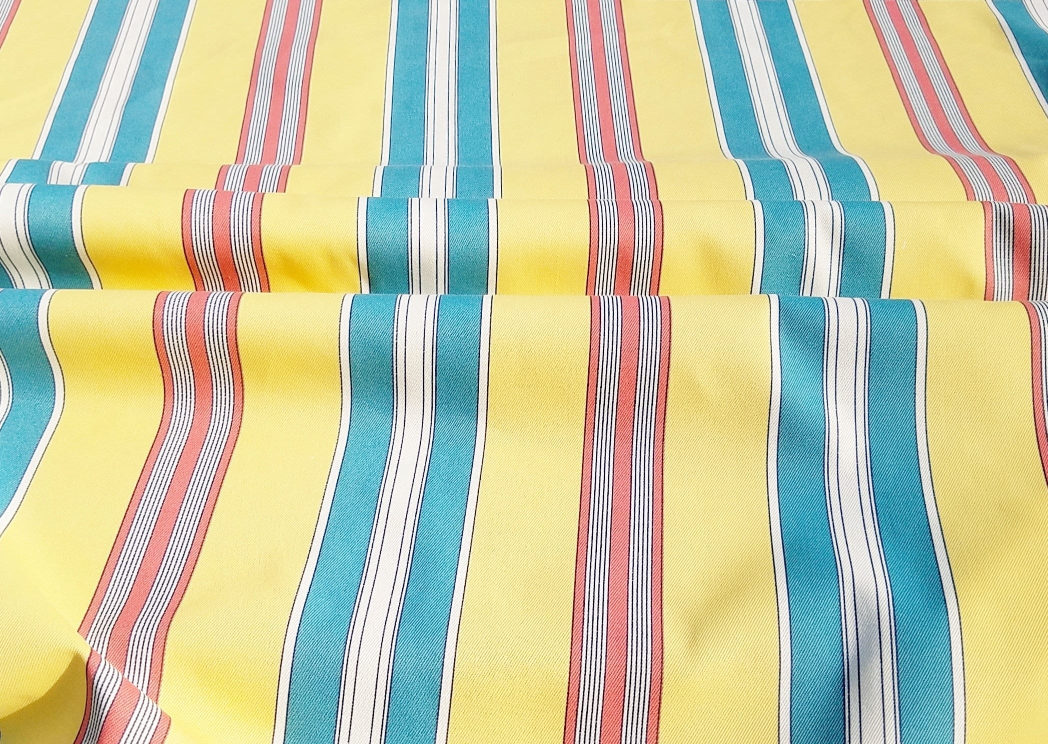 P Kaufmann Deck Chair Striped Upholstery Fabric Yellow Teal Etsy