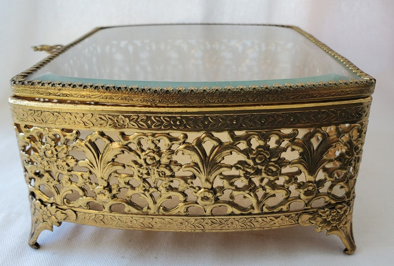 Vanity Box Vintage Ormolu Filigree and Floral Jewel Box Trinket Box Beveled Glass Footed 1960/'s Gold Tone Jewelry Casket