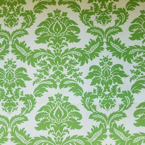Kingsway Fabrics Casablanca Pattern Fabric Large Scale Stencil Flourish Print Fabric In Green Apple Upholstery Fabric Pillow Fabric