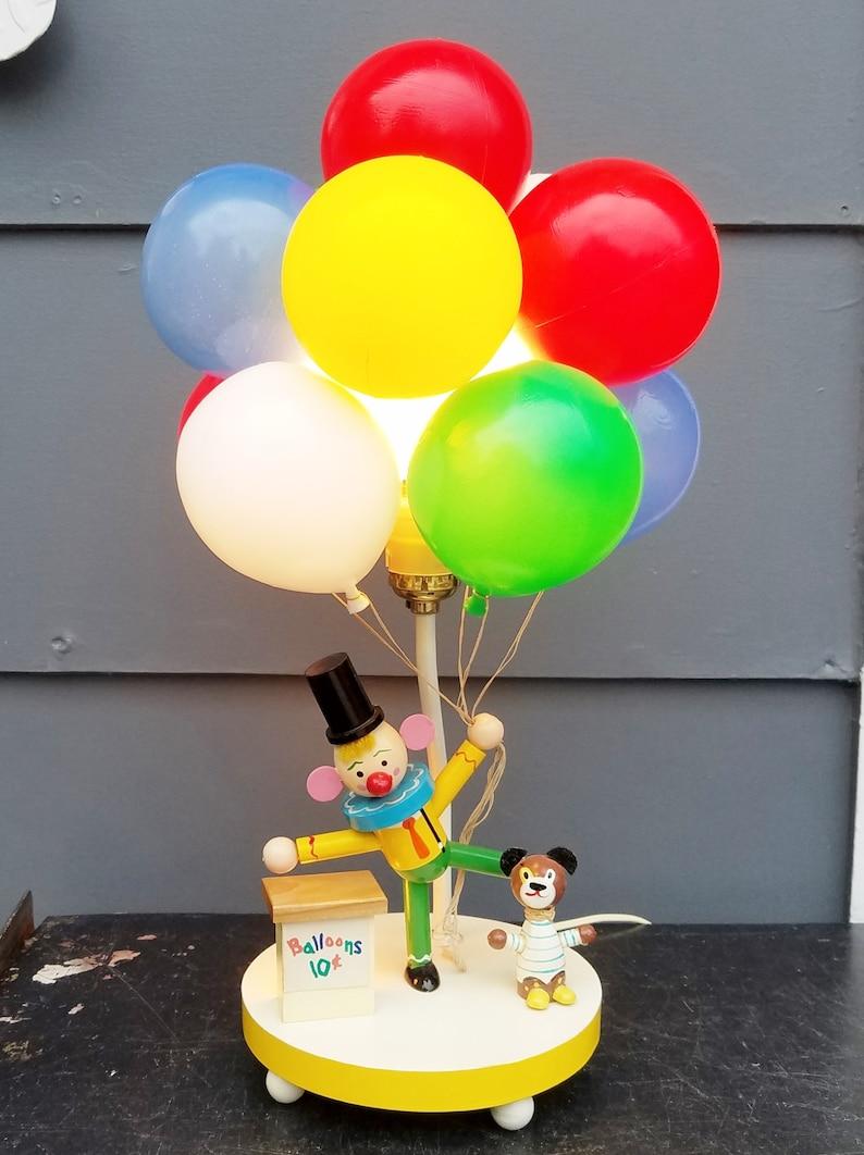 Circus Dolly Toy Co Balloons Clown Plastics Red Retro Dog Children/'s Lamp Yellow White Vintage Blue Nightlight 1960/'s Green