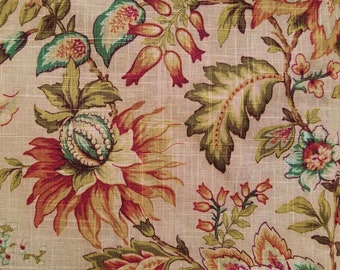 Mill Creek Jacobean Floral Fabric, Printed Linen Blend, Upholstery Fabric, Pillow Fabric, Drapery Fabric