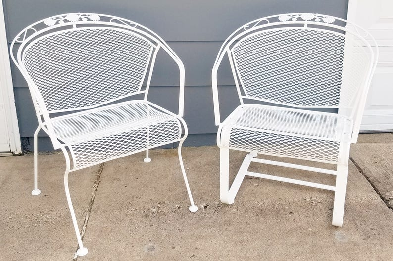Vintage Woodard Patio Furniture Patterns.Vintage Woodard Daisy Bouquet Wrought Iron Barrel Back Patio Chair Sold Separately