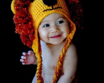 Baby lion hat,  Lion hat, Animal hat, Baby hat, photo prop, Lion king hat
