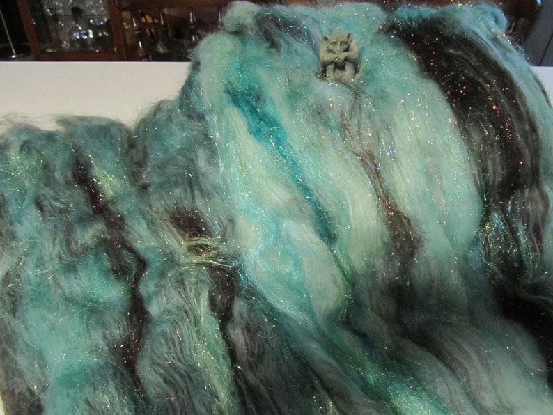 doll hair spinning fiber felting fiber batt Angelina sparkle fiber art batt for spinning bling batt CHOCOLATE MINT
