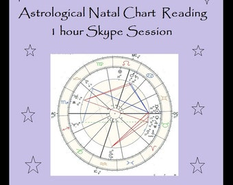 Astrological Natal Chart Reading - 1 Hour Skype Session - Your Chart and OR Relationship Charts - Includes document with notes we discuss.