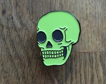 Green Skull Pin