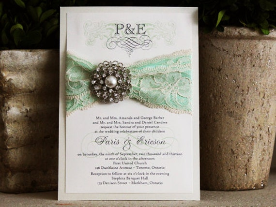 Wedding Invitations Lace And Pearl: Vintage Themed Lace Wedding