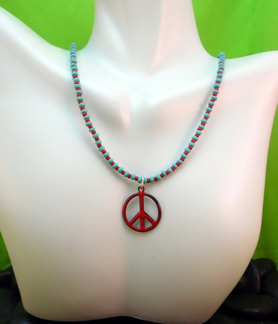 Blue Peace Pendant and Beads