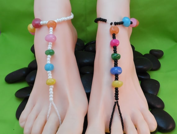 Bright Colors Pebble Barefoot Sandals, White Black Blue Yellow Pink Green Orange Red Beads, Stretch