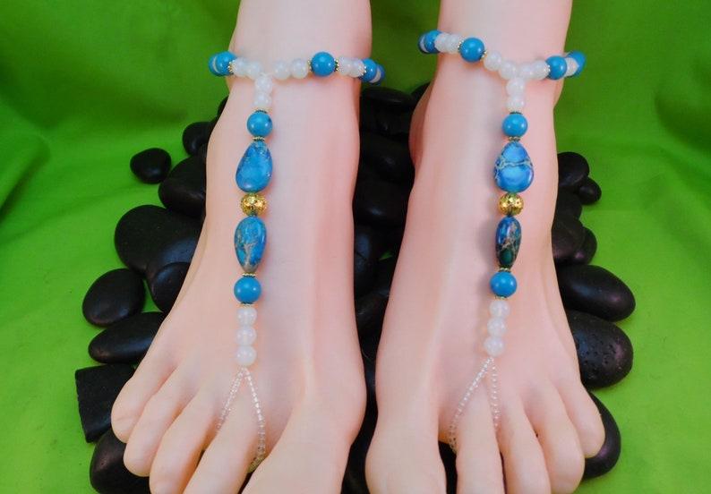 Jasper and Opalite Blue Sea Sediment Jasper Barefoot Sandals Blue White Gold