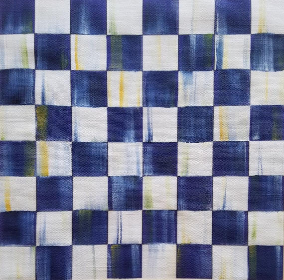 Faux Leather Canvas Fabric Sheet Blue Gingham CLS-217