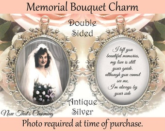 Glass Photo Wedding Bouquet Charm Custom Made For You Personalized Memorial New For Sale Bridal & Wedding Party Jewelry