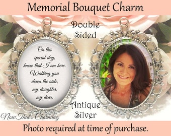 Engagement & Wedding Glass Photo Wedding Bouquet Charm Custom Made For You Personalized Memorial New For Sale